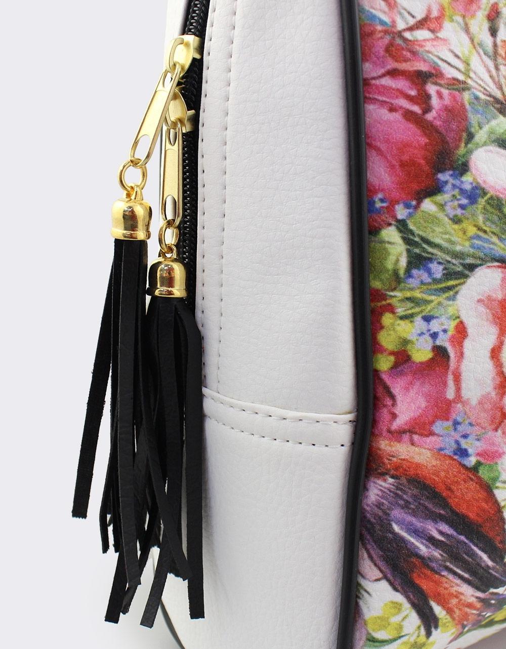 Εικόνα από Γυναικεία σακίδια πλάτης με πολύχρωμα λουλούδια Λευκό