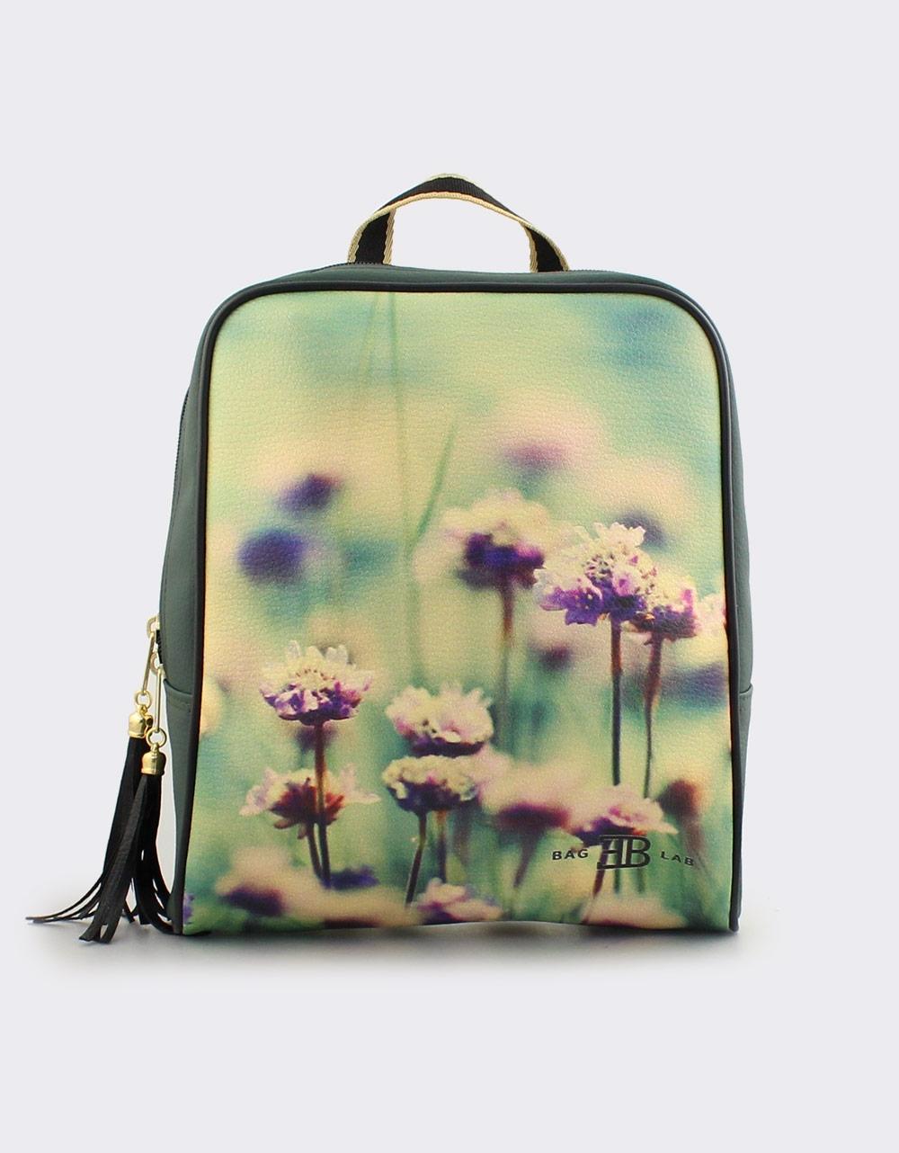 Εικόνα από Γυναικεία σακίδια πλάτης με print άνθη Πράσινο