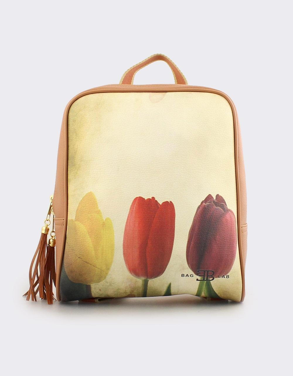 Εικόνα από Γυναικεία σακίδια πλάτης με χρωματιστές τουλίπες Ταμπά