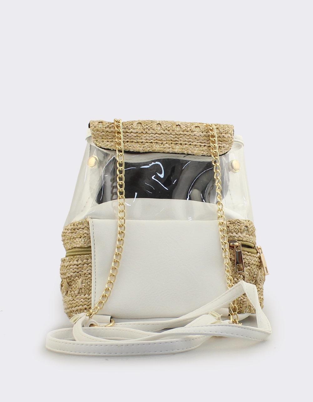 Εικόνα από Γυναικεία σακίδια πλάτης με ψάθα και διαφάνεια Λευκό