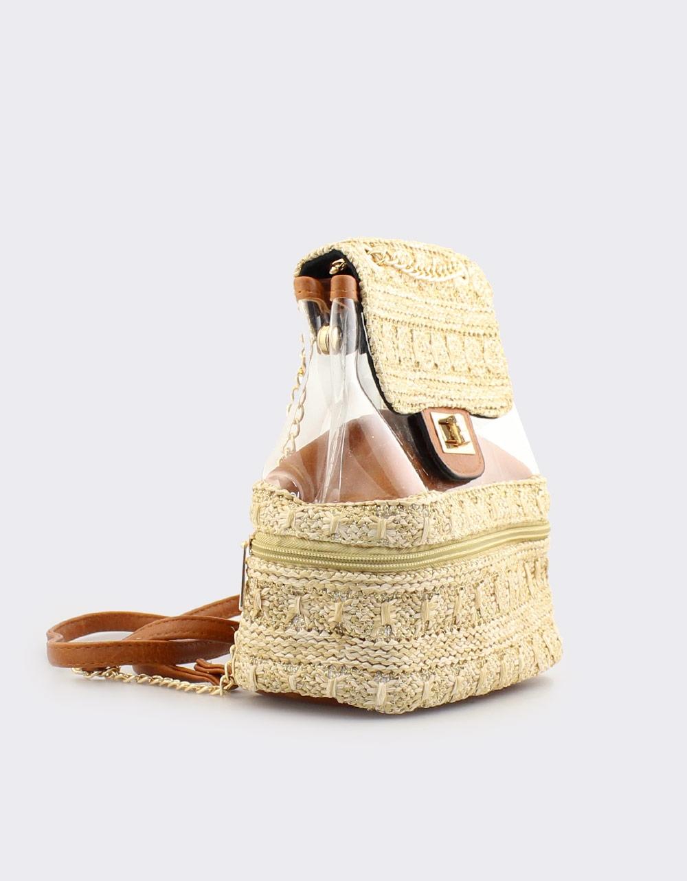 Εικόνα από Γυναικεία σακίδια πλάτης με ψάθα και διαφάνεια Ταμπά