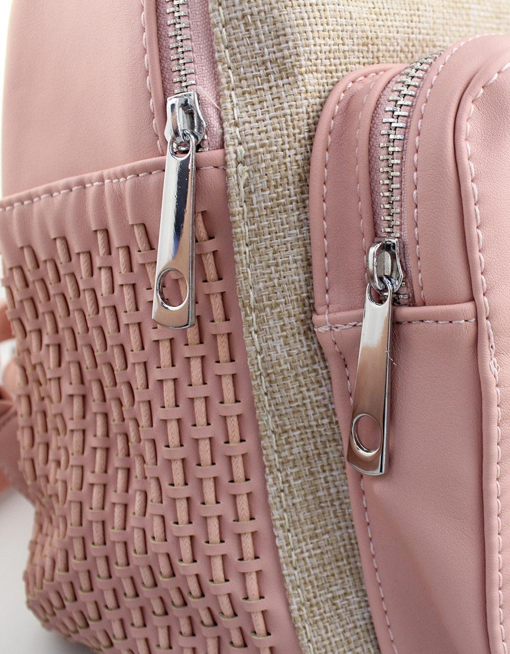 Εικόνα από Γυναικεία σακίδια πλάτης με ανάγλυφο σχέδιο Ροζ