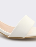 Εικόνα από Γυναικεία πέδιλα με καρέ τακούνι Λευκό