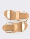 Εικόνα από Γυναικεία δερμάτινα σανδάλια Φυσικό/Χρυσό