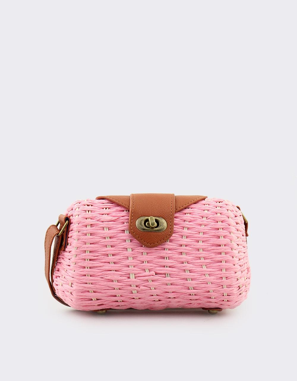 Εικόνα από Γυναικείες τσάντες ώμου ψάθινες με πλέξη Ροζ