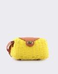 Εικόνα από Γυναικείες τσάντες ώμου ψάθινες με πλέξη Κίτρινο