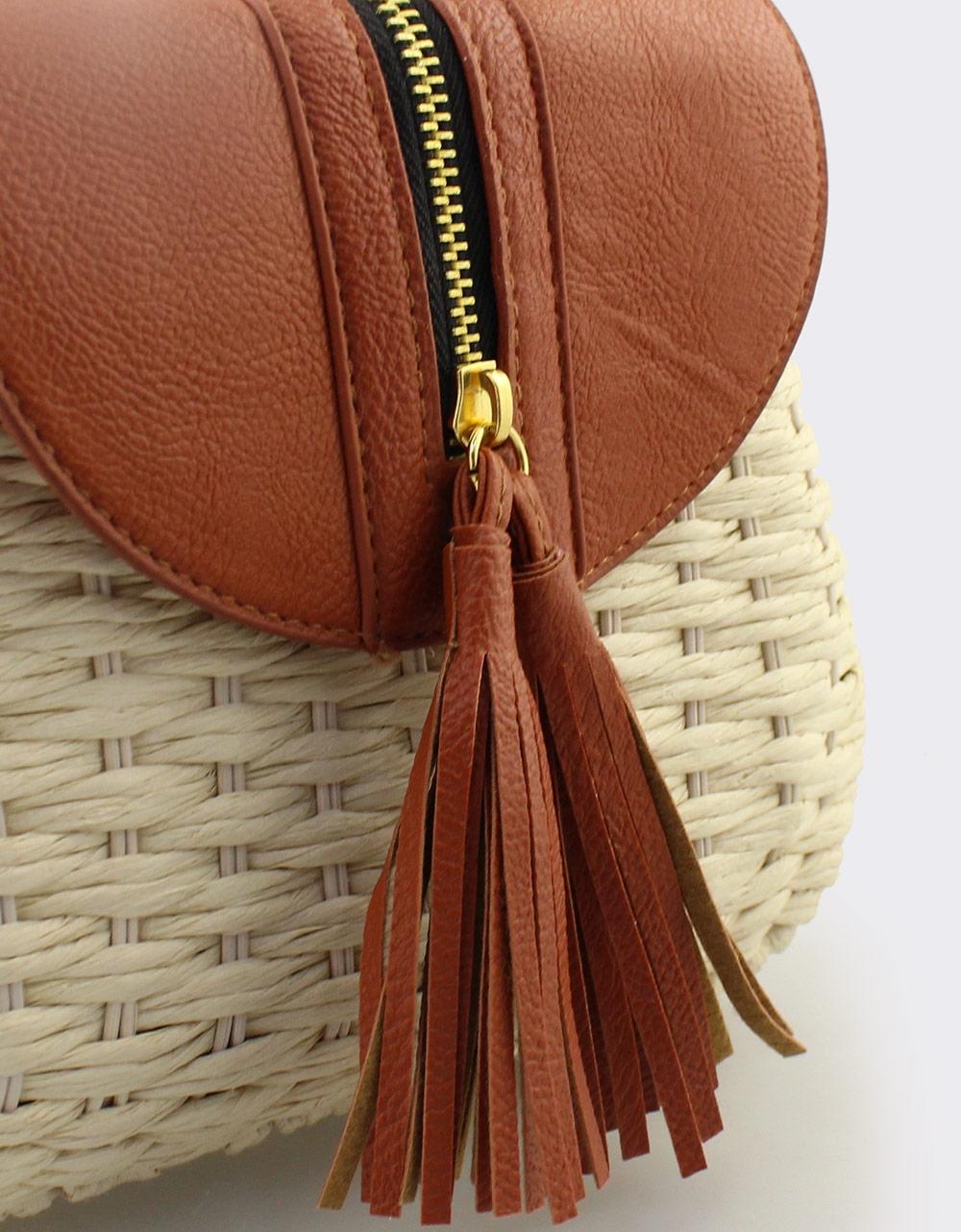 Εικόνα από Γυναικείες τσάντες ώμου ψάθινες με διακοσμητικό φερμουάρ Μπεζ