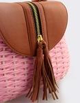 Εικόνα από Γυναικείες τσάντες ώμου ψάθινες με διακοσμητικό φερμουάρ Ροζ