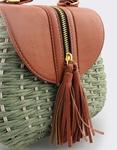 Εικόνα από Γυναικείες τσάντες ώμου ψάθινες με διακοσμητικό φερμουάρ Πράσινο