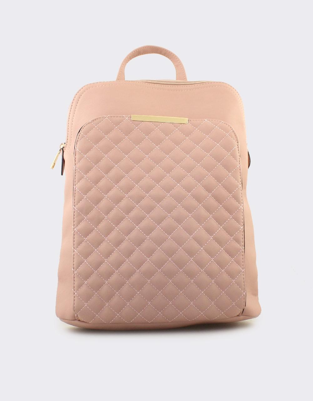 Εικόνα από Γυναικεία σακίδια πλάτης με καπιτονέ μοτίβο Ροζ