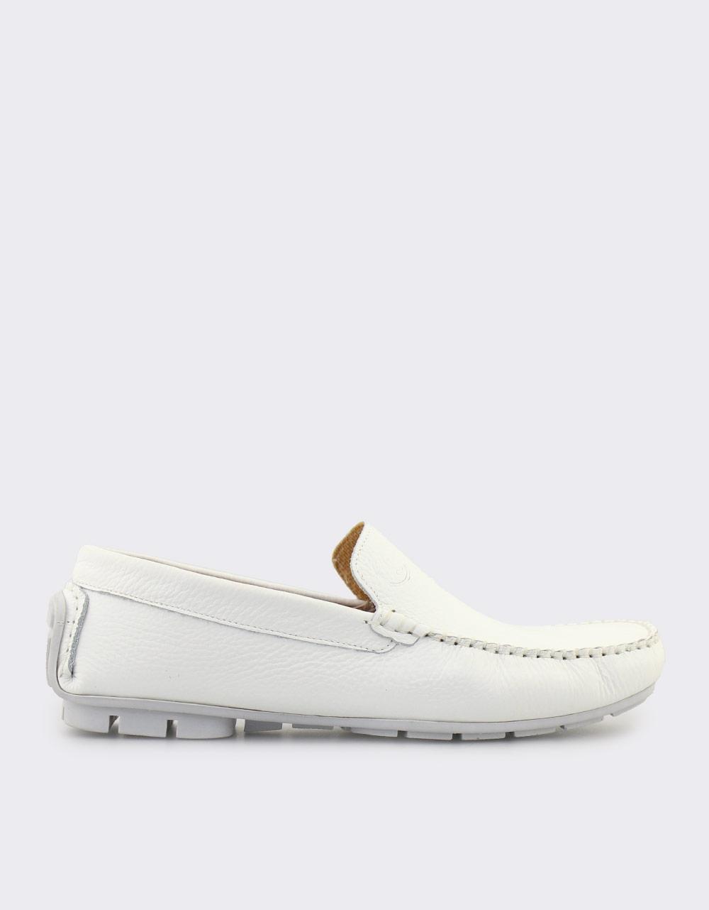 Εικόνα από Ανδρικά δερμάτινα loafers Λευκό