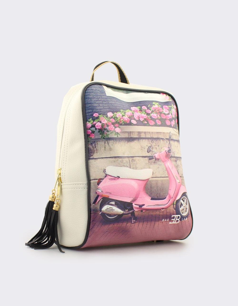 Εικόνα από Γυναικεία σακίδια πλάτης με print pink vespa Λευκό