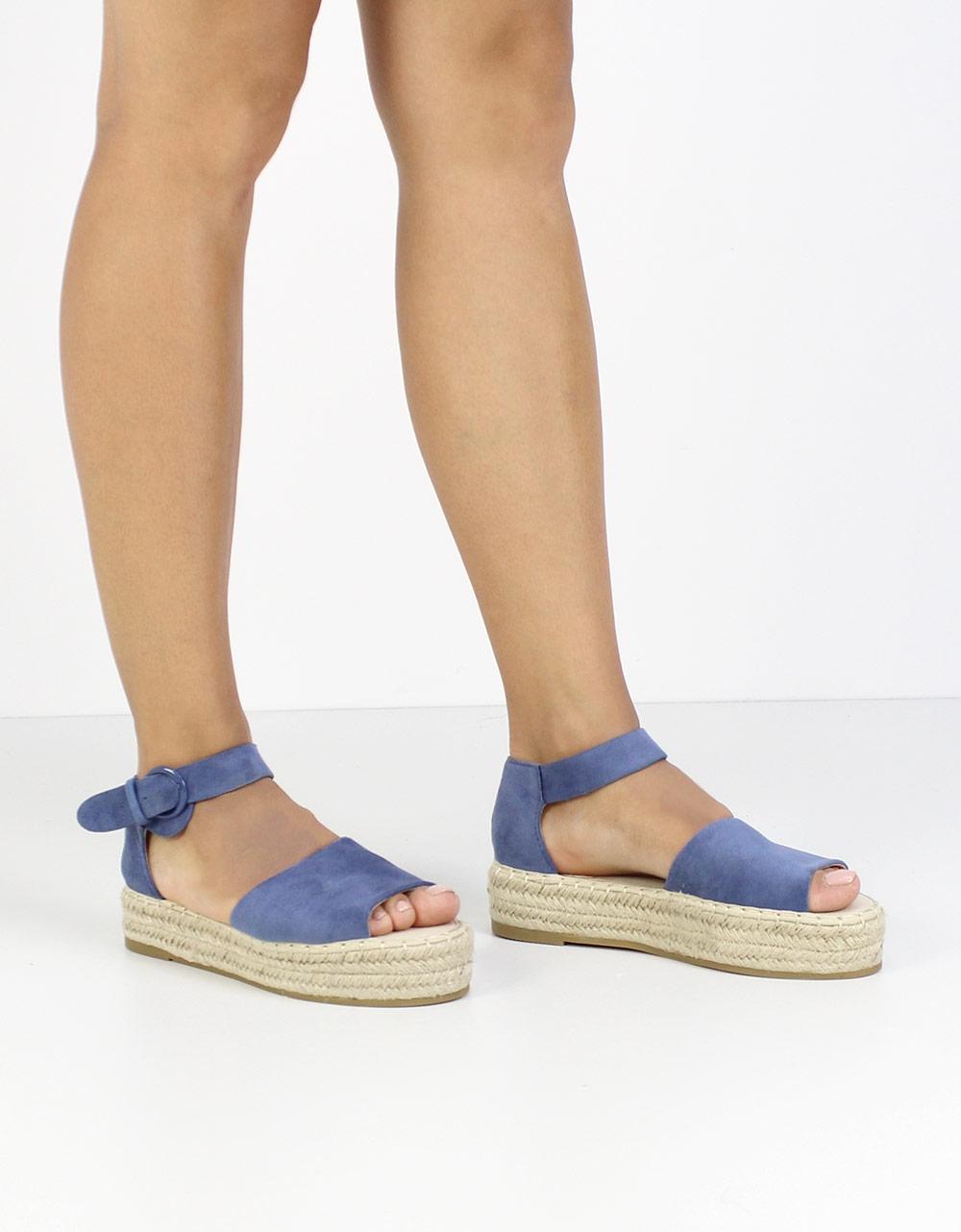 Εικόνα από Γυναικείες εσπαντρίγιες peep toe με μπαρέτα Μπλε