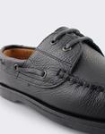 Εικόνα από Ανδρικά δερμάτινα loafers με κορδόνια Μαύρο