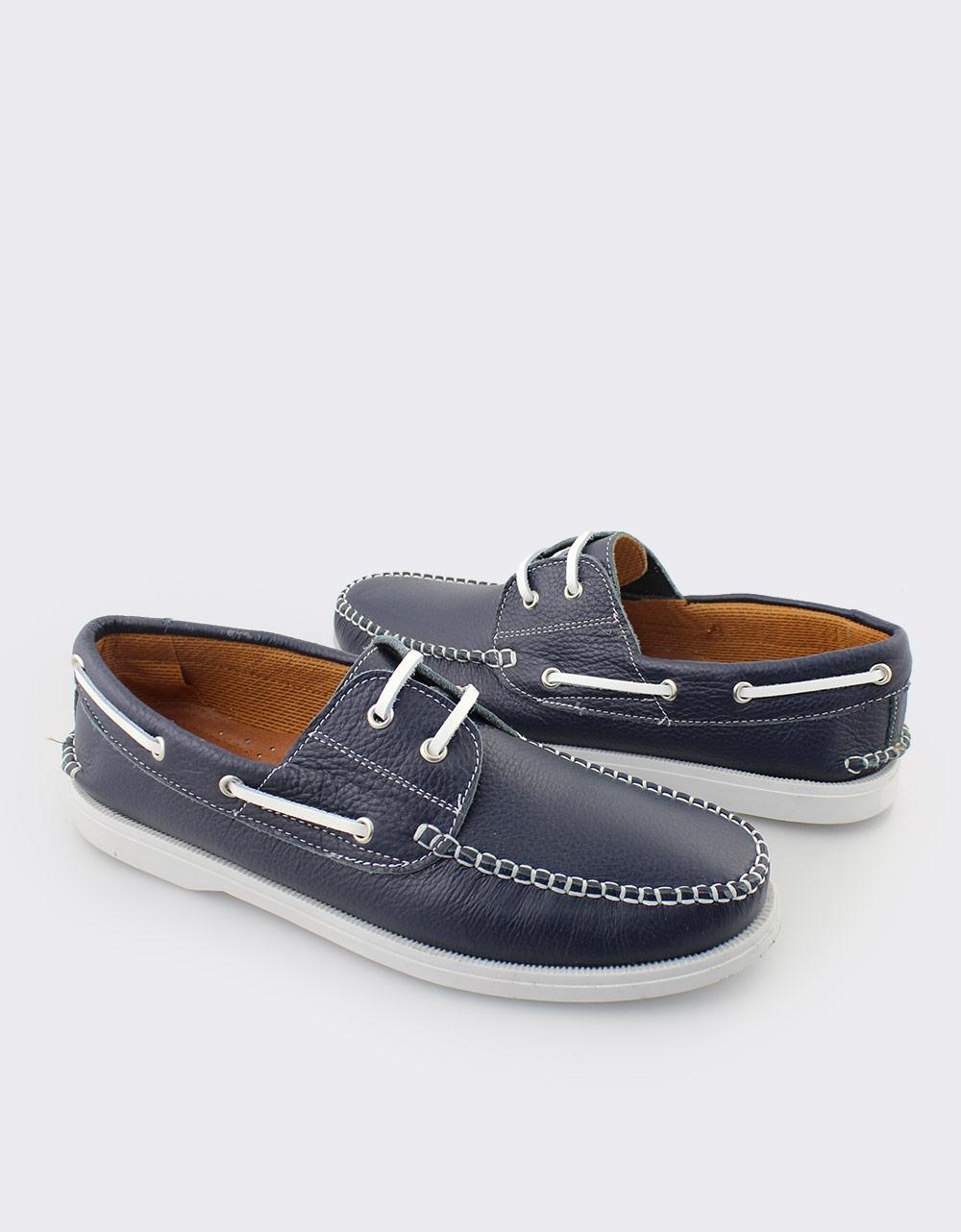Εικόνα από Ανδρικά δερμάτινα loafers με κορδόνια Μπλε
