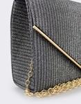 Εικόνα από Γυναικείοι φάκελοι μεταλλιζέ με τριγωνικό καπάκι Γκρι