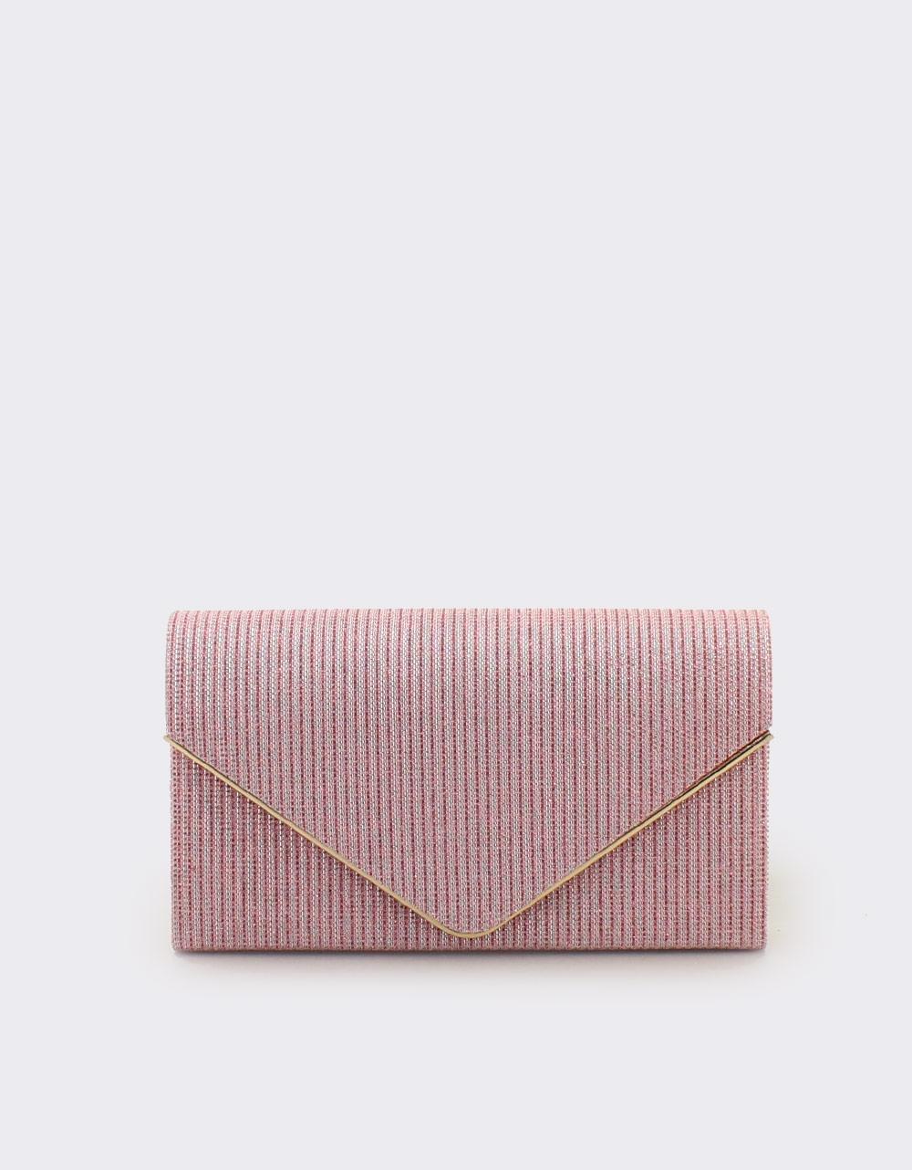 Εικόνα από Γυναικείοι φάκελοι μεταλλιζέ με τριγωνικό καπάκι Ροζ