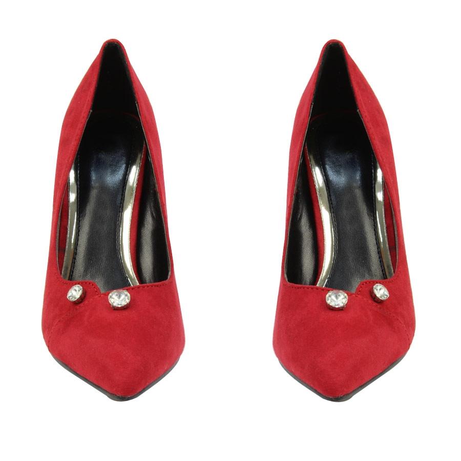 Εικόνα από Γυναικείες γόβες με διακοσμητικά strass Κόκκινο