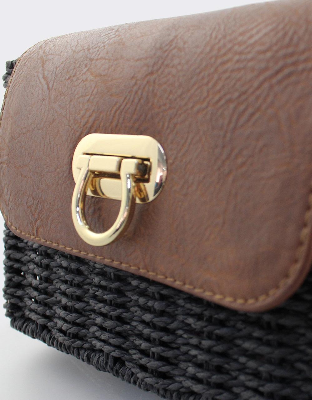 Εικόνα από Γυναικείες τσάντες ώμου ψάθινες με καπάκι Μαύρο