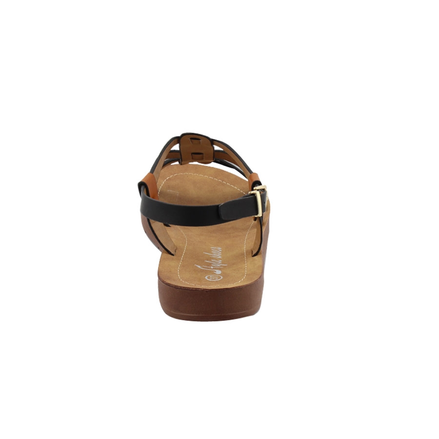 Εικόνα από Γυναικεία σανδάλια με T-strap και stubs Μαύρο