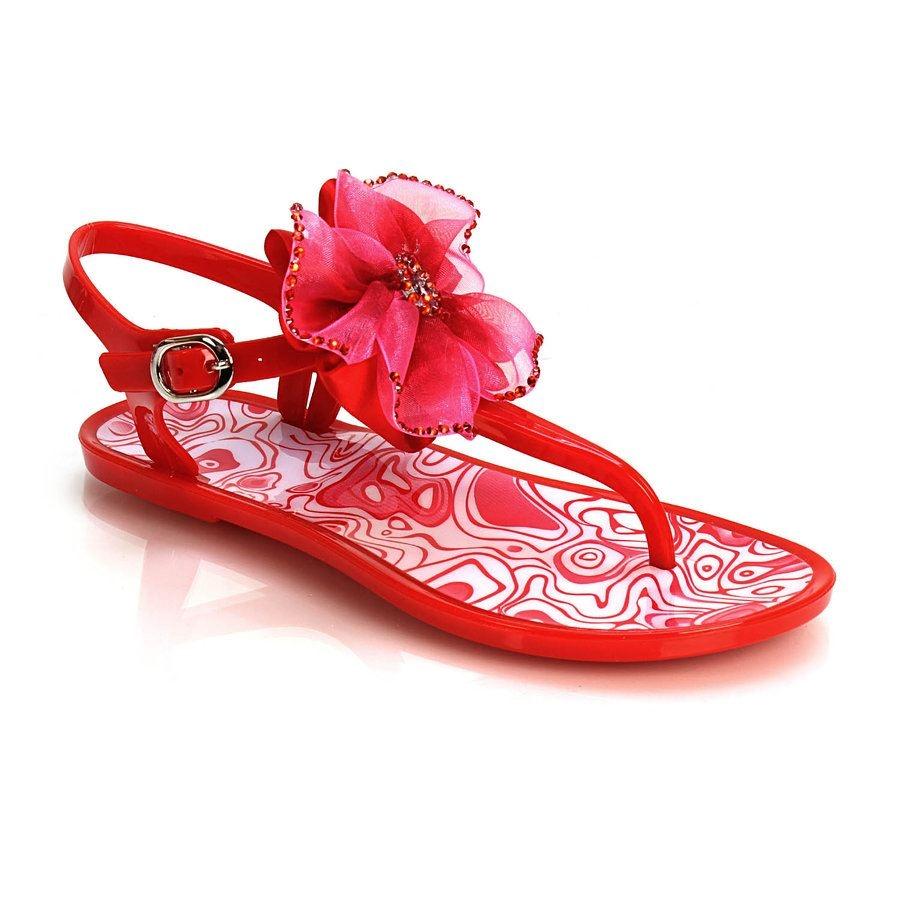 Εικόνα από Γυναικεία σανδάλια με υφασμάτινο λουλούδι Κόκκινο