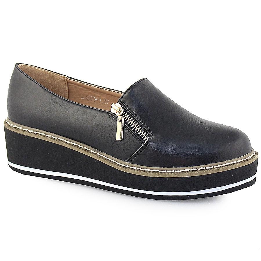 d67926c2b57 Γυναικεία loafers με διακοσμητικό φερμουάρ Μαύρο