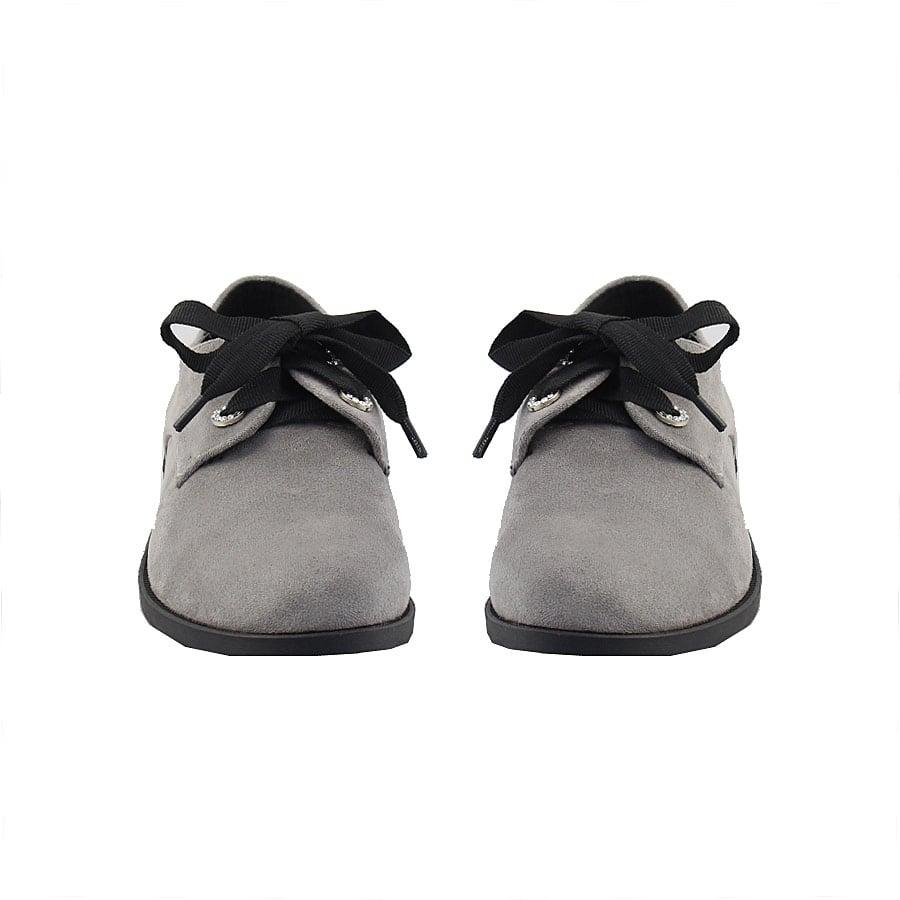 Εικόνα από Γυναικεία loafers με μαύρη κορδέλα Γκρι