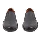 Εικόνα από Ανδρικά δερμάτινα loafers με περιμετρικά γαζιά Μαύρο