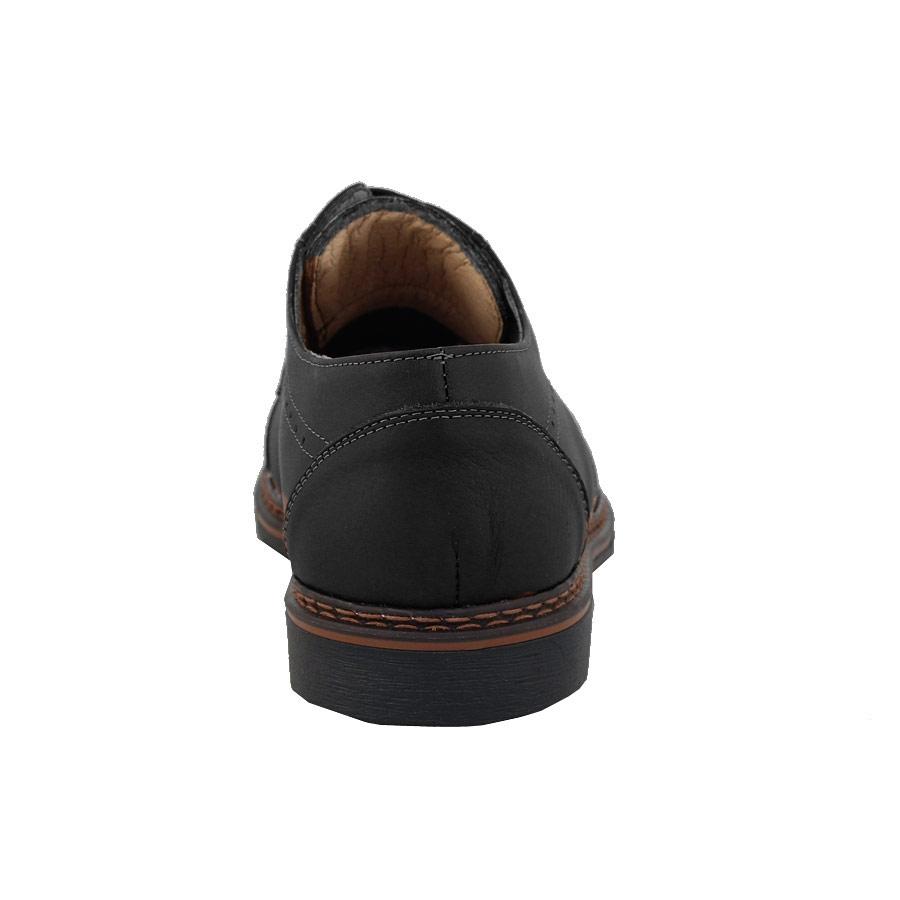 Εικόνα από Ανδρικά loafers δερμάτινα με διακοσμητικά γαζιά Μαύρο