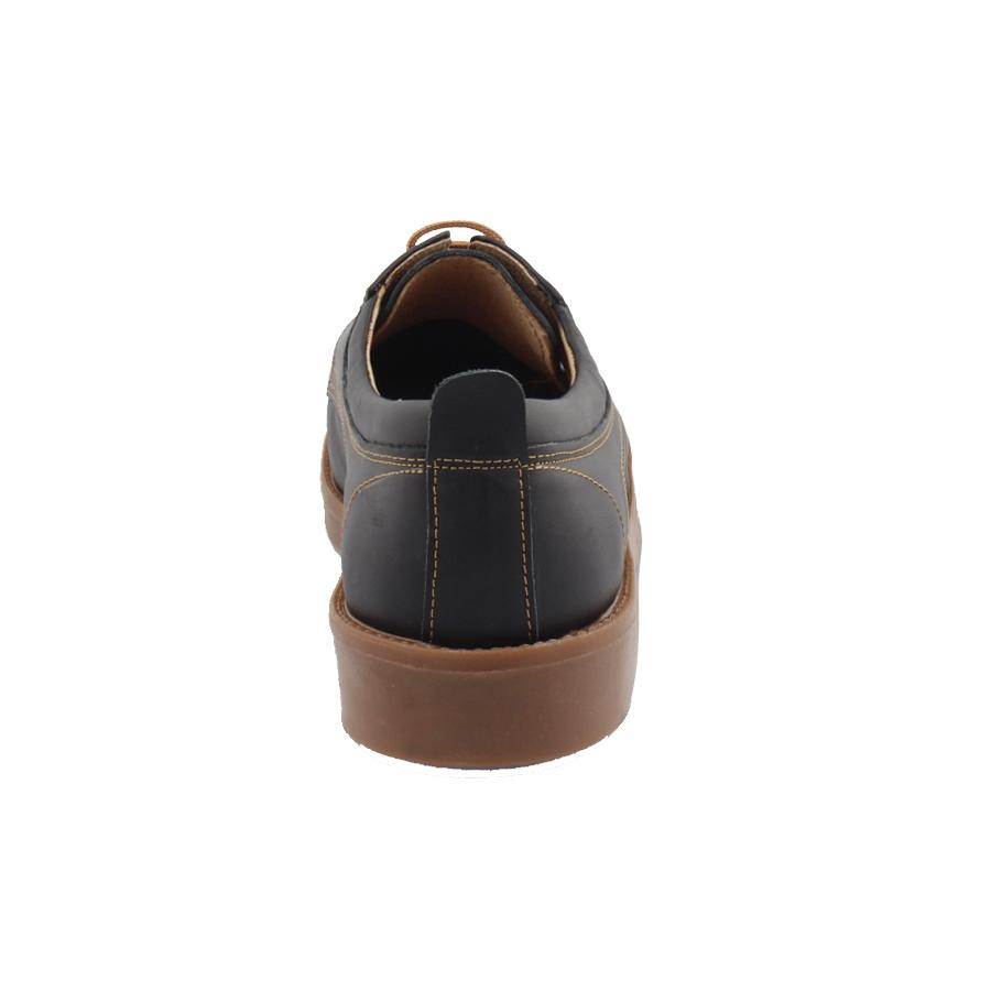 Εικόνα από Ανδρικά δερμάτινα loafers με καφέ κορδόνια Μαύρο