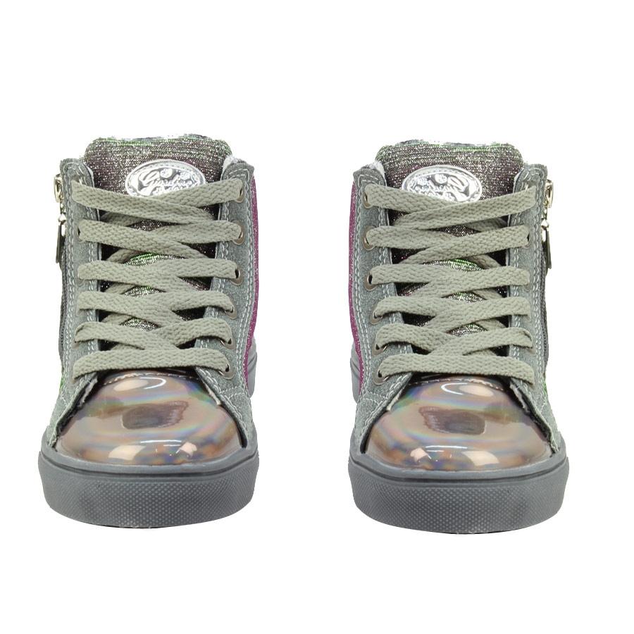 Εικόνα από Παιδικά sneakers με σχέδιο και φερμουάρ Γκρι
