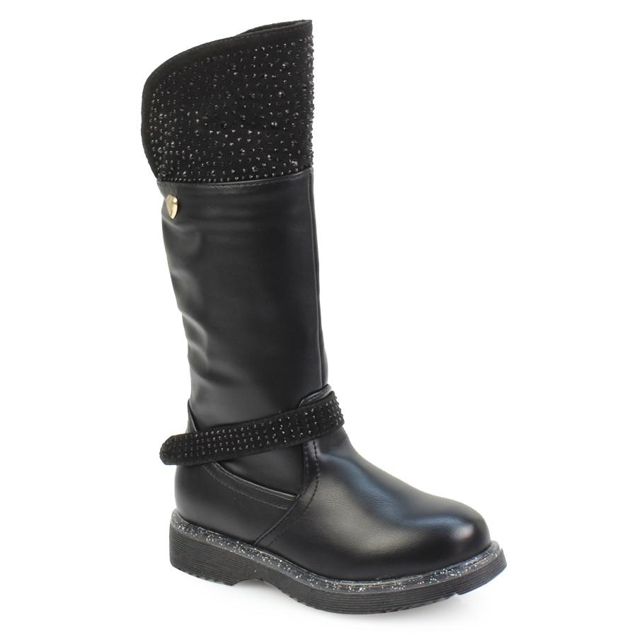 Εικόνα από Παιδικές μπότες με strass και glitter Μαύρο