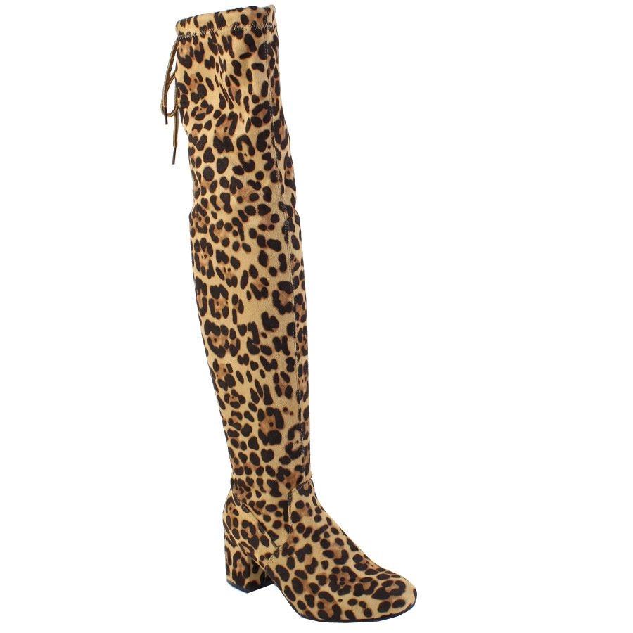 Εικόνα από Γυναικείες μπότες over the knee Λεοπάρ