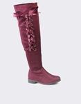 Εικόνα από Γυναικείες μπότες με σατέν κορδόνια Μπορντώ
