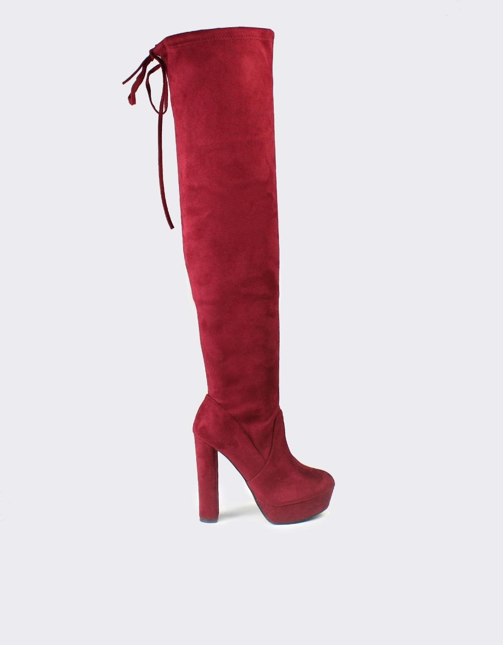 Εικόνα από Γυναικείες μπότες μονόχρωμες με φιάπα Μπορντώ