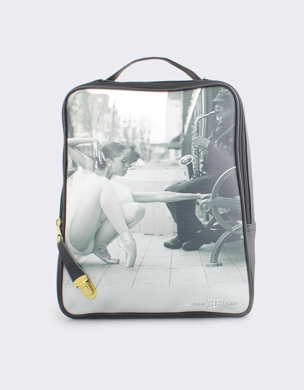 Εικόνα από Γυναικεία σακίδια πλάτης με print road ballet Μαύρο
