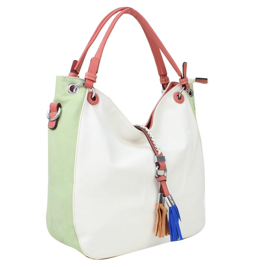 Εικόνα από Γυναικείες τσάντες ώμου με διακοσμητικά κροσσάκια Λευκό