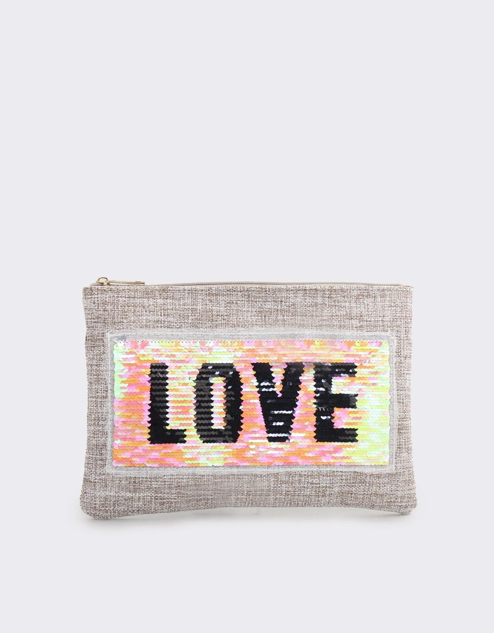 Εικόνα από Γυναικείοι φάκελοι με πούλιες και print love Γκρι