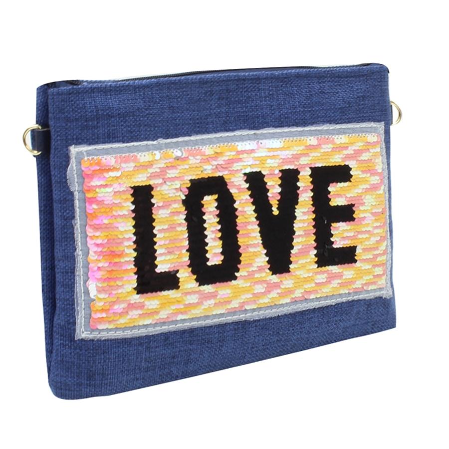 Εικόνα από Γυναικείοι φάκελοι με πούλιες και print love Μπλε