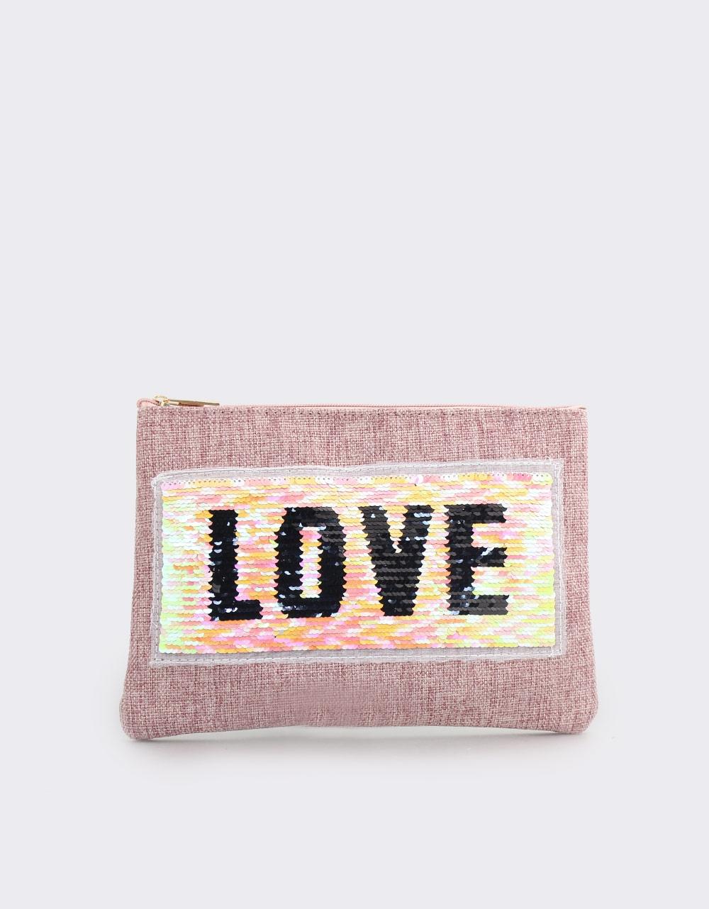 Εικόνα από Γυναικείοι φάκελοι με πούλιες και print love Ροζ