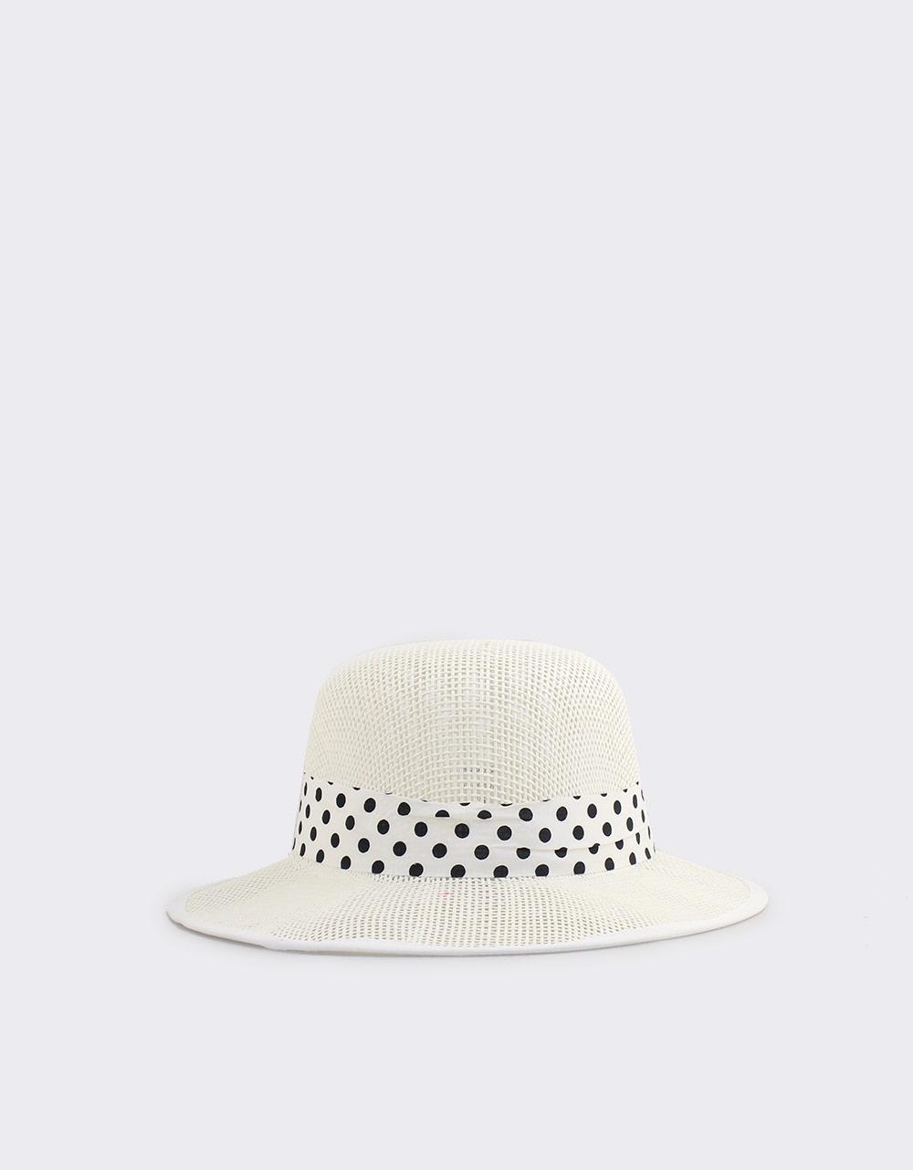 Εικόνα από Γυναικεία καπέλα με πουά κορδέλα Λευκό