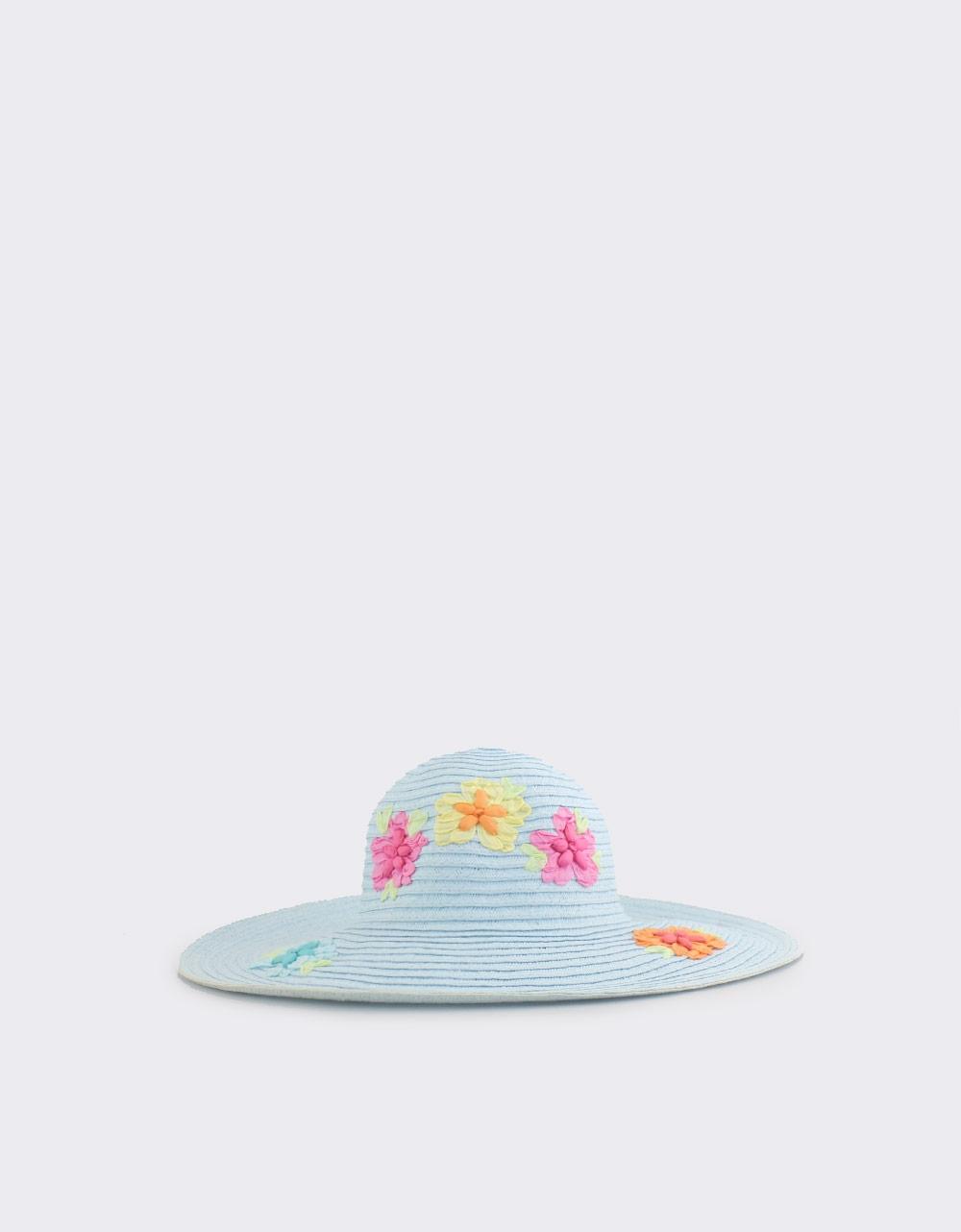 Εικόνα από Γυναικεία καπέλα με λουλουδάκια Σιέλ