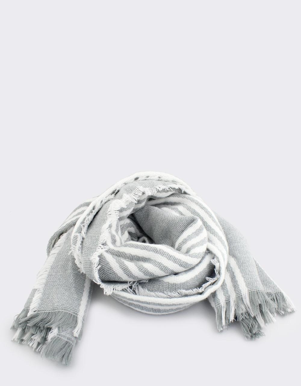 Εικόνα από Γυναικεία φουλάρια δίχρωμα με ρίγες Γκρι