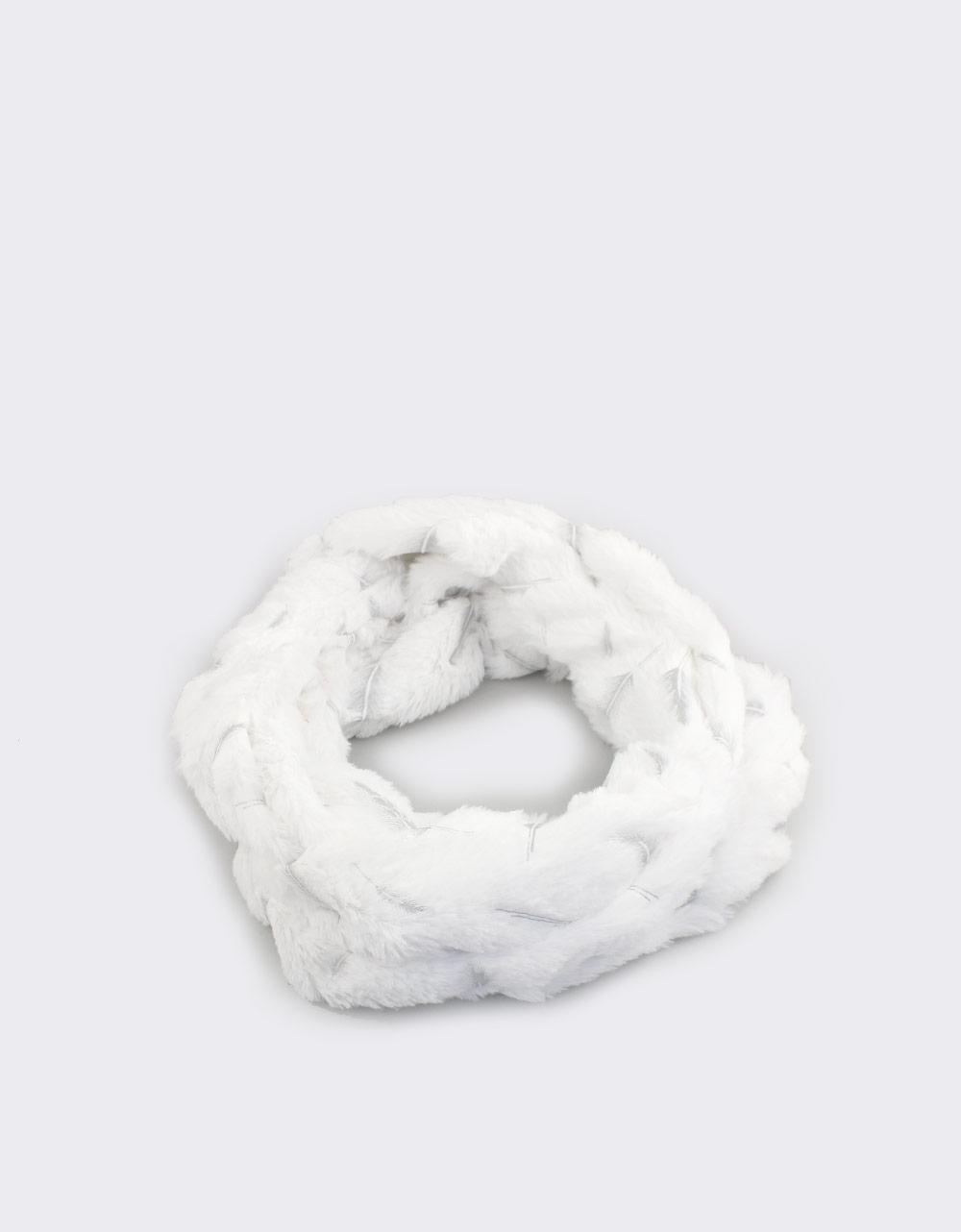 Εικόνα από Γυναικεία γουνάκια με σχέδιο πούπουλα Λευκό