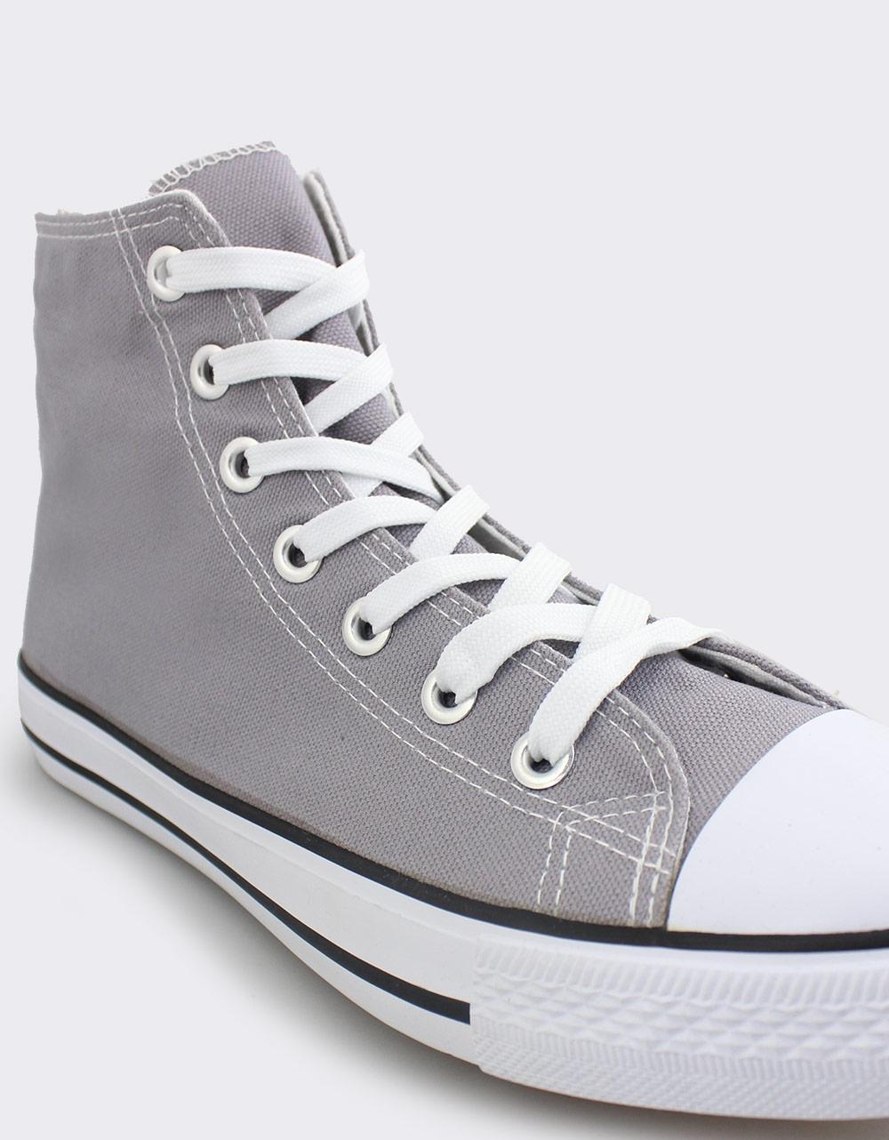 Εικόνα από Ανδρικά sneakers υφασμάτινα με ρίγα στη σόλα Γκρι