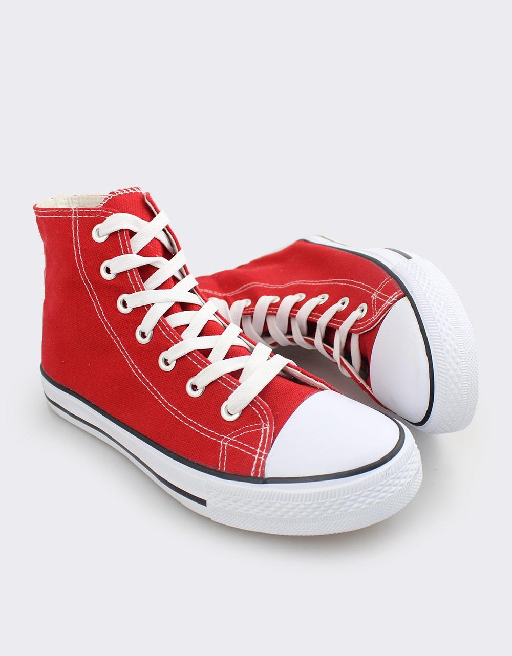 Εικόνα από Ανδρικά sneakers υφασμάτινα με ρίγα στη σόλα Κόκκινο