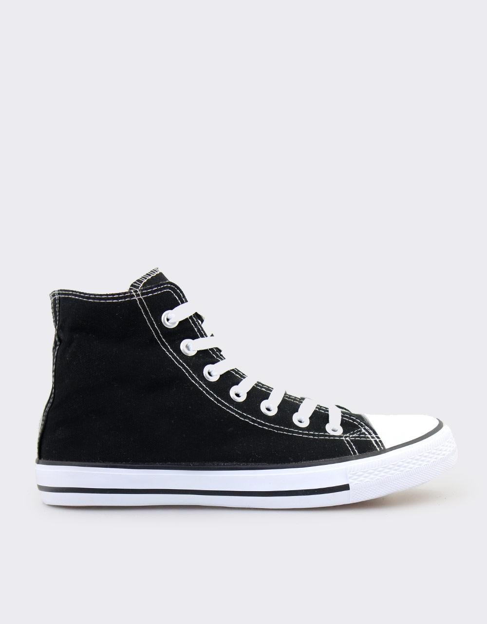 Εικόνα από Ανδρικά sneakers υφασμάτινα με ρίγα στη σόλα Μαύρο