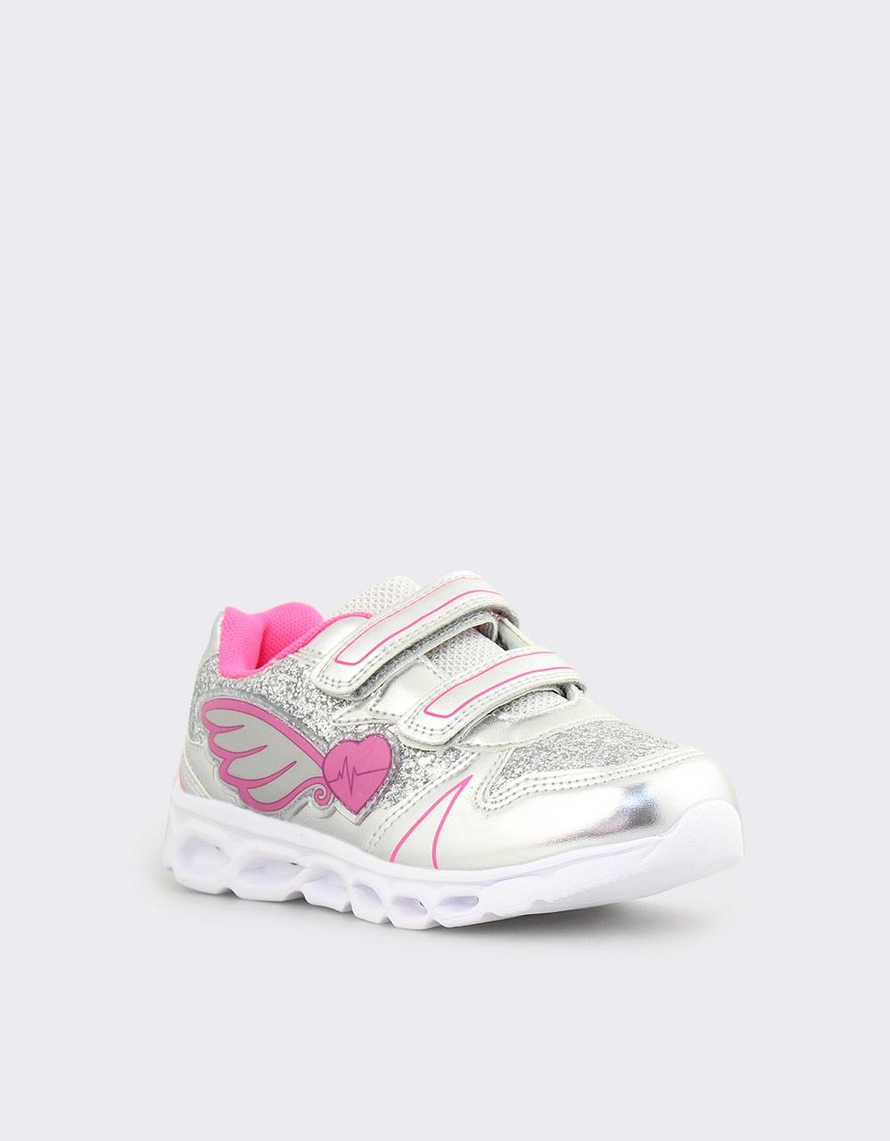 Εικόνα από Παιδικά αθλητικά με φωτάκια και glitter Ασημί/Ροζ