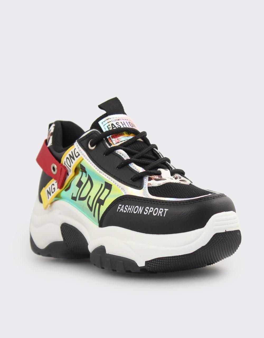Εικόνα από Γυναικεία sneakers με μεταλλιζέ λεπτομέρειες Μαύρο