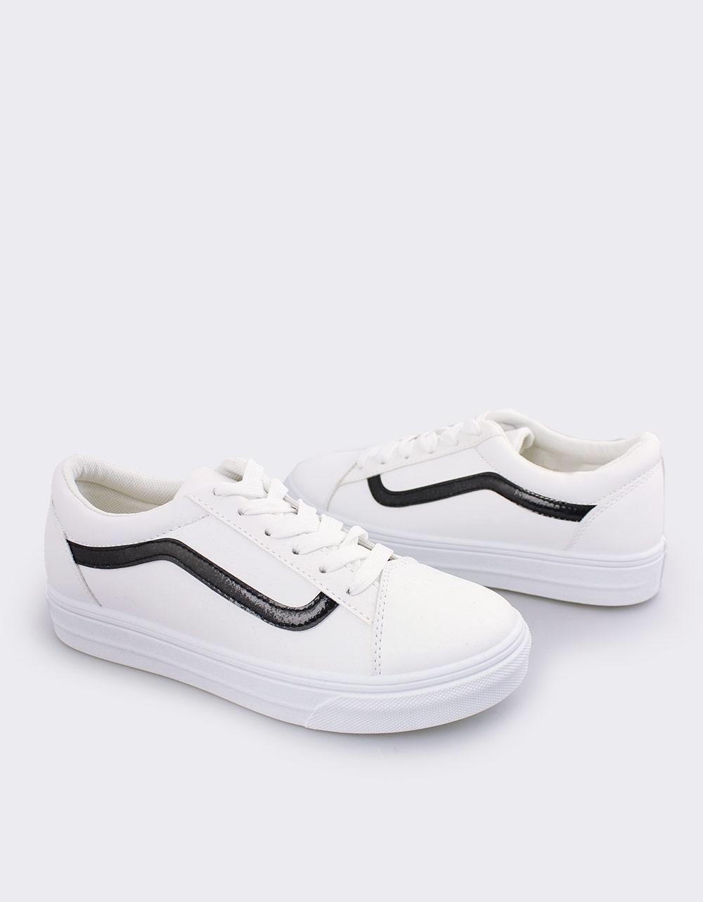 Εικόνα από Γυναικεία sneakers με λεπτομέρεια με glitter Λευκό/Μαύρο